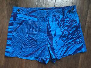 NWT J.Crew Garden Shorts 100% Linen Indigo Palm Fronds Size 12 $59.50