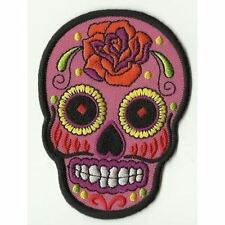 ECUSSON PATCHE PATCH THERMOCOLLANT SKULL MEXICAN TATTOO ROSE PINK 9 X 6,5 CMS