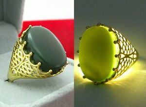 925 Silver ring with genuine Yemeni green Jade and golden finish خاتم يشم يمني