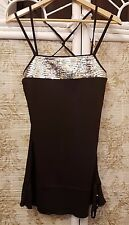 BAY Dark Brown Strappy Top with Gold Sequinned 'Bib' Size 12