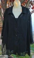 2 pc.Maggie Barnes Black Pleated 3/4 Sleeve Shirt Top 2X 22/24W