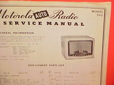1950 MOTOROLA AUTO CAR AM RADIO FACTORY SERVICE SHOP REPAIR MANUAL MODEL 500