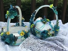 Handmade 2 Wedding Flower Girl Baskets & Ring Bearer Pillow