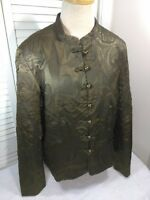 Coldwater Creek Women's Paisley Chinese Light Weight Jacket, Shiny Dark Green PL