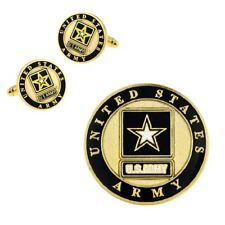 PinMart's Gold US Army Logo Enamel Lapel Pin & Cufflink Military 2 Pc Bundle