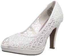 Jane Klain Damen 293-161 Peep Toe Plateau Pumps Hochzeits Schuhe white High Heel