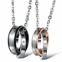 "Stainless Steel "" Forever Love "" Ring Pendant Necklace Boyfriend Girlfriend Gift"