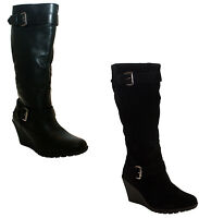 NEW WOMENS LADIES WIDE LEG FIT KNEE HIGH WEDGE HEEL ZIP UP RIDING LONG BOOTS 3-8