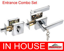 Door handles lock Entrance set with entrance handle and deadbolt CHROME 6502