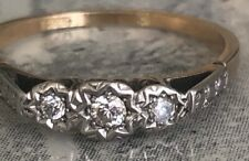 18ct Yellow Gold and Platinum Antique Style Diamond 3 Stone Ring Size O