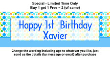Birthday Party Banner Sign for 1st or any Baby Boy - Blue Green Polka Dot Theme