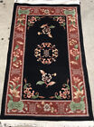 """AN AWESOME ANTIQUE CHINESE RUG BLACK BACKGROUND COLOR 5'3"""" X 2'11"""""""