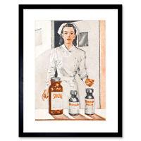 Ad Nurse Drugs Medicine Penicillin Medical Hospital Framed Wall Art Print