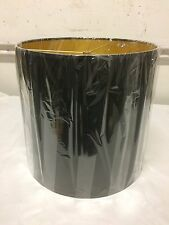 "Tall  Drum Shape Lamp Shade 15"" w x 14"" ht Black and Gold"