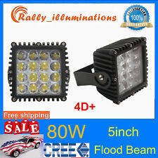 2X 5inch 80W Square CREE LED Work Light FLOOD Offroad Jeep Boat 4WD SUV Lamp 4D+