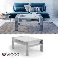VICCO Couchtisch AITOR in Weiß Beton Optik - Wohnzimmer Sofatisch Kaffeetisch