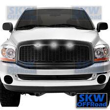 06-08 Dodge RAM Truck Raptor Style Matte Black Mesh Grille+Shell+3x White LED