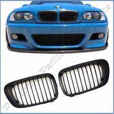 For 2000-2006 BMW E46 M3 2DR Shadow Matte Black Front Kidney Grille Air Vent Lid