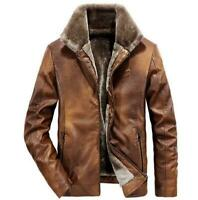 Warm Winter Mens Thick Fur Lining Collar Jacket Retro Coat Flight Bomber Leather