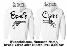 Hoodie Bonnie Clyde Motiv Pullover Partner Look Wunschname XS - 5XL One Love New