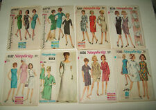 Vintage Lot of 8 Simplicity Assorted Mixed Style Sewing Dress Patterns 1960's