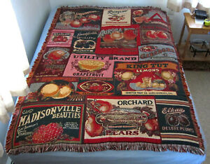 """Goodwin Weavers Fruit Crate Labels Throw Blanket 64"""" x 45"""". Vintage, Never Used"""