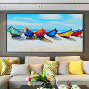 YA281 HOME DECOR ART PURE HAND-PAINTED SCENERY OIL PAINTING BOATS ON CANVAS