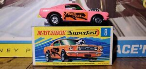 MATCHBOX SUPERFAST WILD CAT DRAGSTER BRIGHT PINK UNPAINTED BASE 1971 MINT in Box
