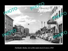 OLD 8x6 HISTORIC PHOTO OF FAIRBANKS ALASKA THE MAIN STREET & STORES c1945