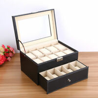 6-20 Slots Leather Watch Jewelry Display Collection Storage Organizer Box Gift