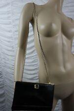 JANE SHILTON black reptile look vintage messenger cross body handbag EVC