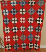 VIBRANT 1890's Vintage 9-Patch Antique Patchwork Quilt Top ~TURKEY RED GROUND!