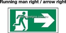 Running Man Arrow Right Sign Safety Signs Australian Made Quality Printed Sign