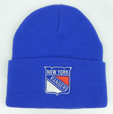 NEW YORK RANGERS NHL ROYAL BLUE VTG KNIT CUFFED BEANIE SKI WINTER CAP HAT NEW!