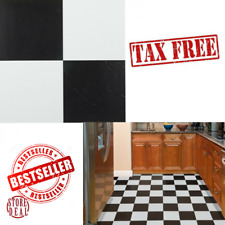 "Adhesive Floor Tiles Stickers Vinyl Solid Self Black White Kitchen 20pcs 12"" NEW"