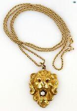 Adorable 1950s Vintage 10K Yellow Gold Diamond Ruby Lion Pendant Chain Necklace