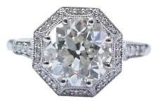 Platinum NATURAL Old European Diamond Casablanca Halo Engagement Ring 2.39Ct