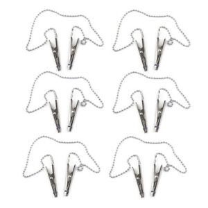 6x Stainless steel Flexible Dental Bib Clips Napkin Holder Ball Chain Dentist mn