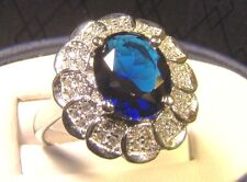 Beautiful Large 3 Ct Blue Sapphire Sterling Silver Floral Cocktail Sz 8 Ring