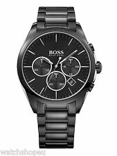 NEW HUGO BOSS HB 1513365 MENS BLACK CHRONOGRAPH WATCH - 2 YEAR WARRANTY