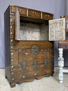 Vintage Chinese Music Cabinet Oriental Side Table Chest Of Drawers Storage
