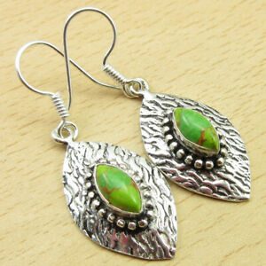 """Real Gemstone 925 Silver Plated Green Copper Turquoise Earrings 1.9"""" Jewelry"""