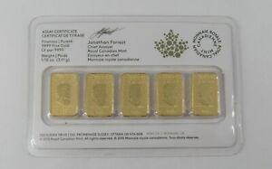 2016 $25 .9999 Gold 1/10th Bars ROYAL CANADIAN MINT 5 Bars 1/2oz Total SEALED