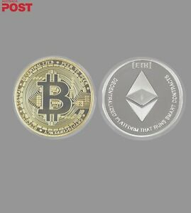 Gold Plated Bitcoin. Silver Plated Ethereum. Novelty Coin Set. Brand New.