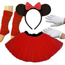 Minnie Mouse Ladies Fancy Dress Tutu Ears Gloves Legwarmers Set outfit Full 4 p