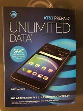 NEW LG PHOENIX 4 AT&T Cell Phone Prepaid16GB Memory -Black SUPER FAST SHIPPING