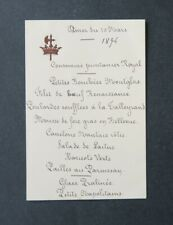 Menu 9 mars 1894 Comtesse DE BONVOULOIR CORNET prince DE BROGLIE noblesse