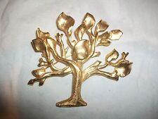 Vintage Antigona Paris Signed Tree of Life Pin Brooch Brushed Goldtone Large