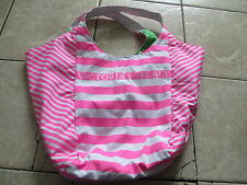 Victoria's Secret Pink White Striped Reversible Green Lemon Beach Medium Bag