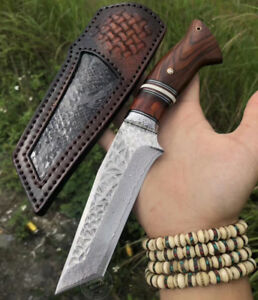 JAPANESE VG10 DAMASCUS HUNTING KNIFE SURVIVAL OUTDOOR CAMPING FIXED BLADE RESCUE